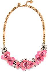 Shourouk Rosa Gold Tone Crystal And Sequin Necklace Pink