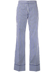 Msgm Striped Straight Trousers Blue