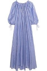 Three Graces London Almost A Honey Moon Striped Cotton Maxi Dress Blue