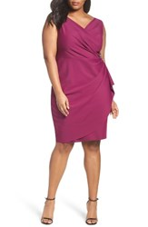 Alex Evenings Plus Size Women's Embellished Surplice Sheath Dress Passion