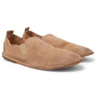 Marsell Cap Toe Washed Suede Loafers Tan