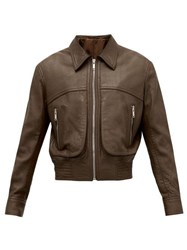 Christophe Lemaire Spread Collar Leather Jacket Brown