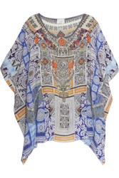 Camilla Crystal Embellished Printed Silk Crepe De Chine Kaftan Light Blue