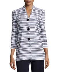 Misook Mia Striped V Neck Jacket White Black
