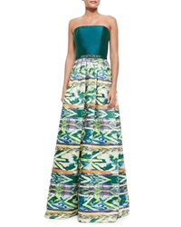 Theia Strapless Tribal Skirt Combo Gown