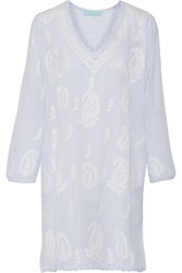 Melissa Odabash Lucy Embroidered Voile Coverup Blue