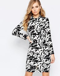 Sisley Longsleeve Dress In Black Graphic Print Black