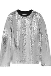 Msgm Sequined Mesh Top Silver