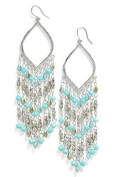 Cristabelle Women's Beaded Chandelier Earrings Turquoise Bronze Silver