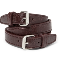 Balenciaga Wrapped Creased Leather Bracelet Red