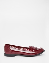 Head Over Heels By Dune Gliss Burgundy Patent Loafer Flat Shoes