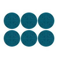 Images D'orient Round Urban 01 Coaster Set Of 6 Teal