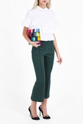 Rosetta Getty Women S Flare Cropped Trousers Boutique1 Green