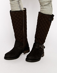 Barbour International Roost Quilted Knee High Biker Boots Black