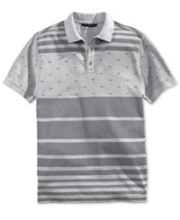 Sean John Men's Flag Stripe Polo Shirt Grey Mix Heather