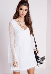 Missguided Lace Overlay Long Sleeve Swing Dress White White