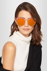 Gentle Monster Deborah Cat Eye Gold Tone And Acetate Mirrored Sunglasses Orange