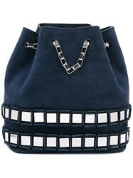 Tomasini Embellished Bucket Tote Women Metal Other Calf Suede One Size Blue