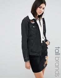 Glamorous Tall Denim Jacket With Tiger Embroidery And Borg Collar Co Ord Black