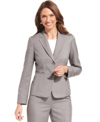 Kasper Petite Jacket Seamed Notched Collar Grey