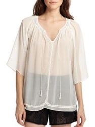 Alice Olivia Mapton Crocheted Trim Sheer Chiffon Blouse Off White