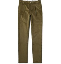 De Bonne Facture Tapered Pleated Cotton Corduroy Trousers Army Green
