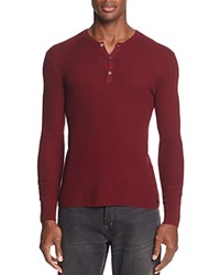 John Varvatos Star Usa Long Sleeve Waffle Knit Henley Sweater 100 Exclusive Wine