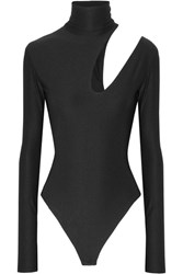 Alix Houston Cutout Stretch Jersey Turtleneck Bodysuit Black