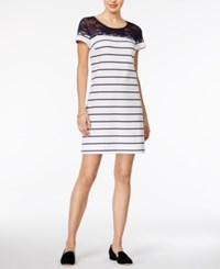 Maison Jules Lace Contrast Shift Dress Only At Macy's Bright White Combo