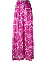 Christian Wijnants Floral Print Wide Leg Trousers Women Silk 36 Pink Purple