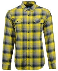 Columbia Men's Michigan Wolverines Long Sleeve Flannel Button Up Shirt Navy Yellow Gray