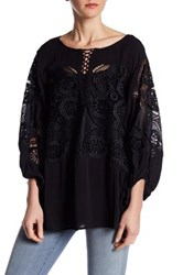 Liberty Garden 3 4 Length Sleeve Lace Shirt Black