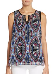 Daniel Rainn Printed Chiffon Keyhole Tank Top Blue Multi