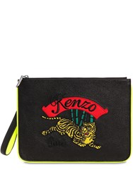 Kenzo Tiger Embroidered Flat Leather Pouch Black