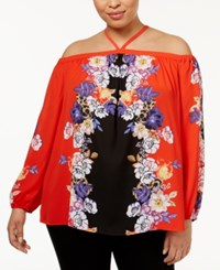Inc International Concepts Plus Size Printed Halter Top Only At Macy's Framing Boquet