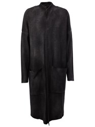 Avant Toi Faded Effect Long Cardigan Black