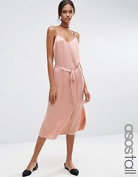 Asos Tall Midi Slip Dress In Satin With Tie Waist Pale Pink
