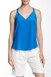 Amanda Uprichard Bow Back Silk Cami Blue