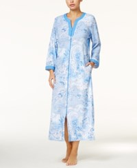 Miss Elaine Contrast Trimmed Zip Front Long Robe Blue Paisley