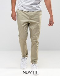 Asos Tapered Chinos In Brown Chinchilla