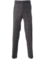 Pt01 Plaid Straight Trousers Grey
