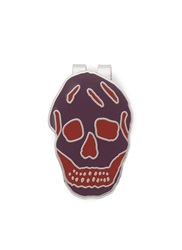 Alexander Mcqueen Enamel Engraved Skull Money Clip Purple Multi Colour