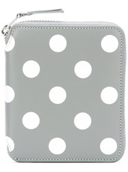 Comme Des Garcons Wallet Polka Dot Zipped Wallet Grey