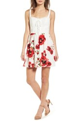Speechless 'S Lace Floral Fit And Flare Dress Ivory Red