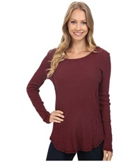 Dylan By True Grit Softest Slub Waffle Long Sleeve Seamed Thermal Crew Claret Women's Long Sleeve Pullover Red