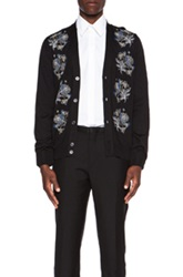 Alexander Mcqueen Embroidery Feather And Flower Wool Blend Cardigan In Black Floral