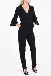Roksanda Ilincic Women S Florent Flare Sleeve Jumpsuit Boutique1 Black