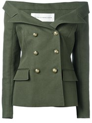 Faith Connexion Off Shoulders Double Breasted Blazer Green