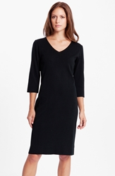 Ming Wang V Neck Dress Black