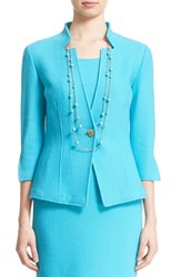 Women's St. John Collection Textural Twill Knit Jacket Aqua